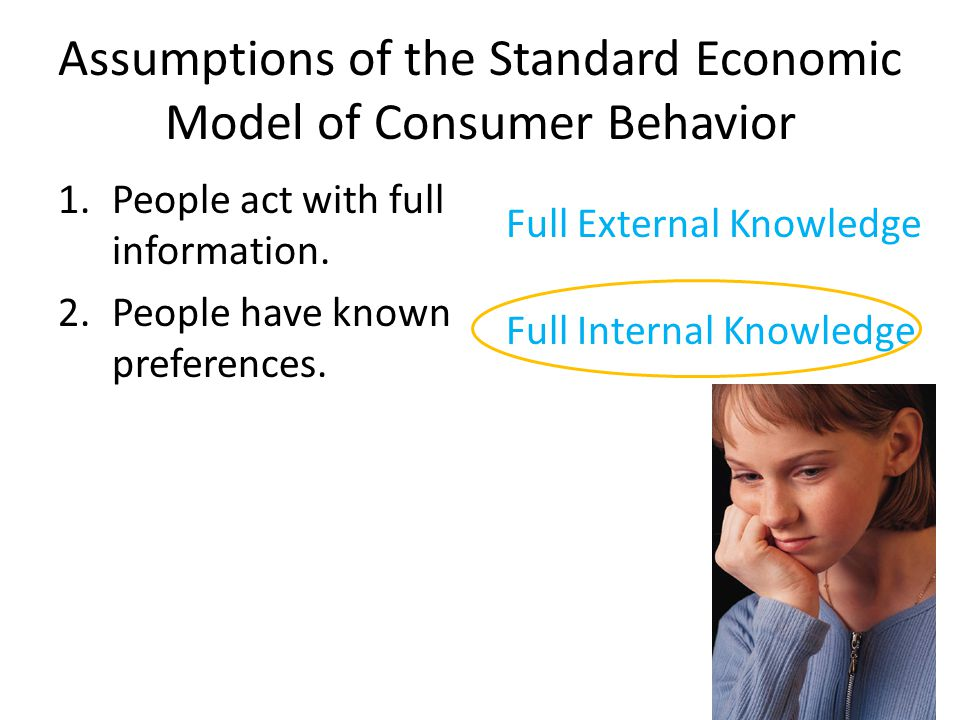Assumptions of the Standard Economic Model of Consumer Behavior 1.People act with full information. 2.People have known preferences. Full External Kno