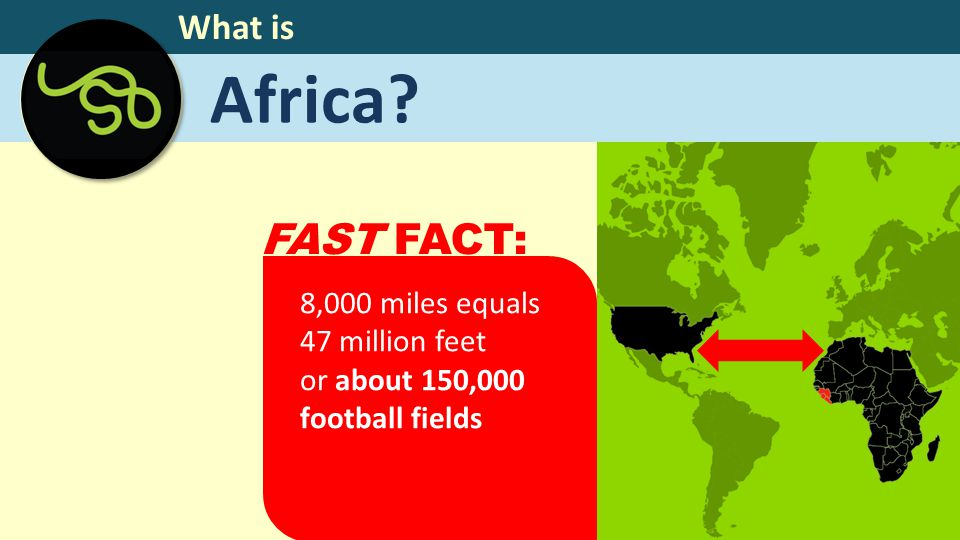 Africa? What is 8,000 miles equals 47 million feet or about 150,000 football fields FAST FACT: