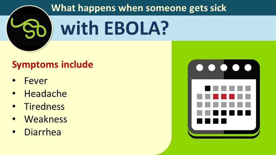 What happens when someone gets sick with EBOLA? Symptoms include Fever Headache Tiredness Weakness Diarrhea