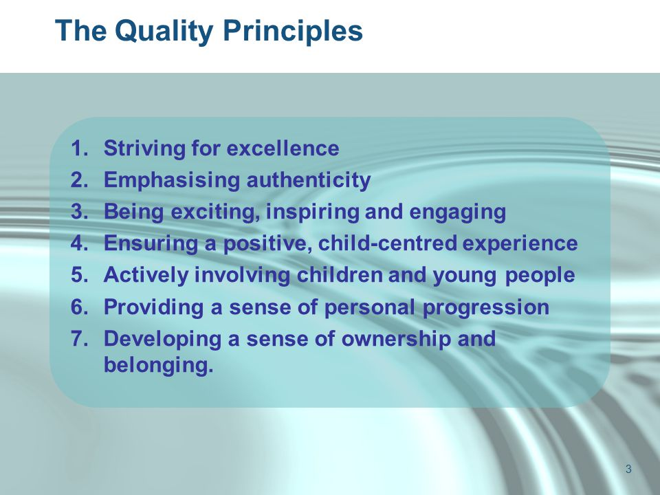 The Quality Principles 1.Striving for excellence 2.Emphasising authenticity 3.Being exciting, inspiring and engaging 4.Ensuring a positive, child-centred experience 5.Actively involving children and young people 6.Providing a sense of personal progression 7.Developing a sense of ownership and belonging.