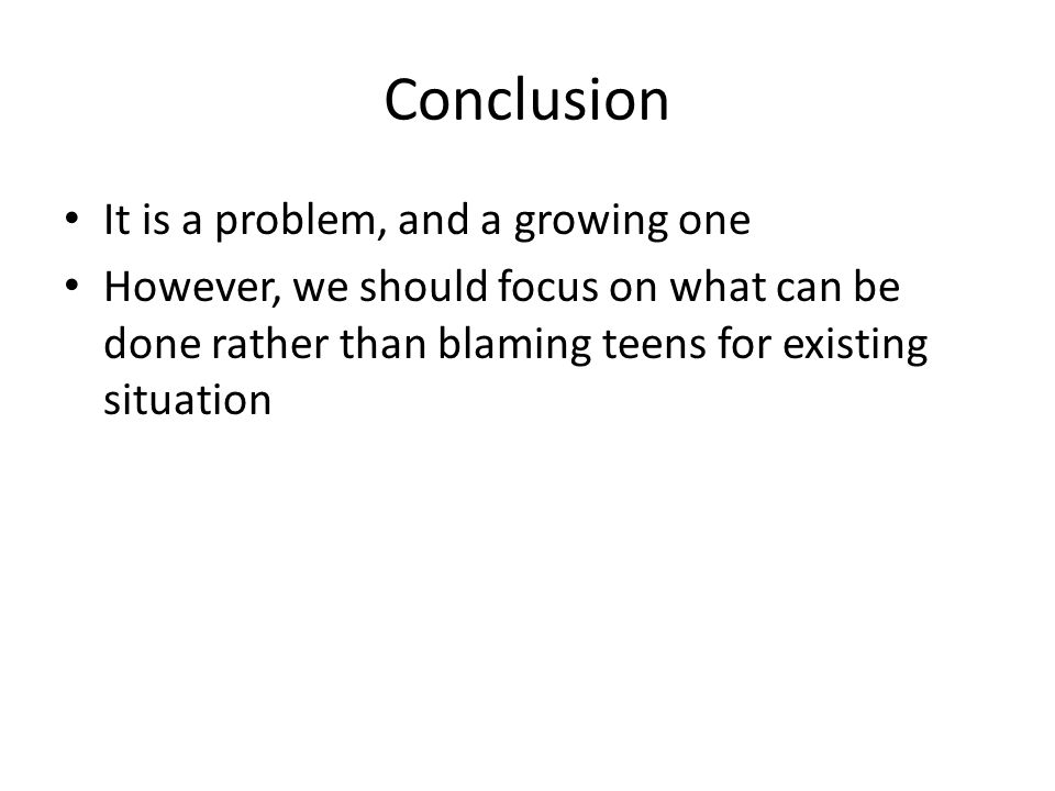 conclusion about social problem among teenagers Essay- the effects of social media on this for many young teenagers this can be a big problem and can impacts social media has on teenagers.