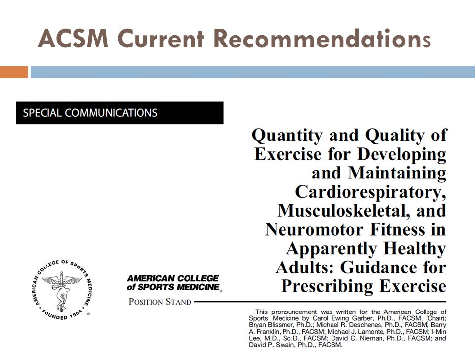 ACSM Current Recommendations