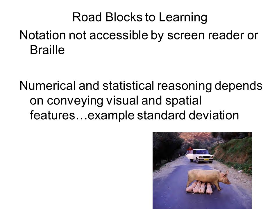 Road Blocks to Learning Notation not accessible by screen reader or Braille Numerical and statistical reasoning depends on conveying visual and spatial features…example standard deviation