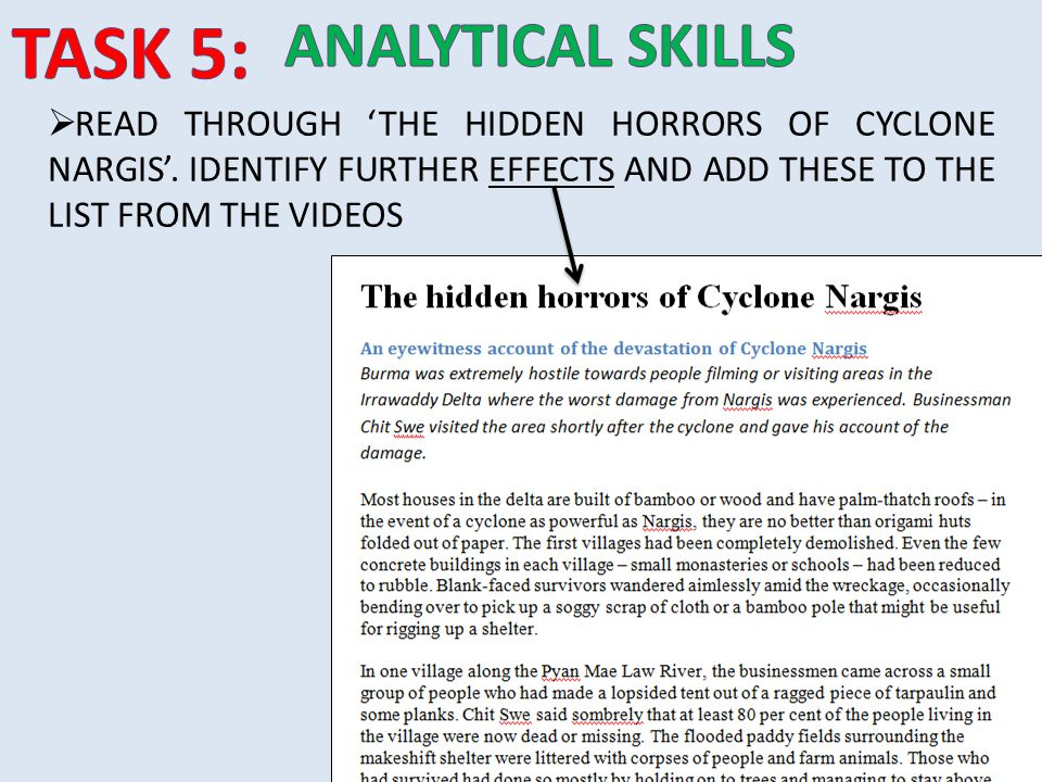  READ THROUGH 'THE HIDDEN HORRORS OF CYCLONE NARGIS'. IDENTIFY FURTHER EFFECTS AND ADD THESE TO THE LIST FROM THE VIDEOS