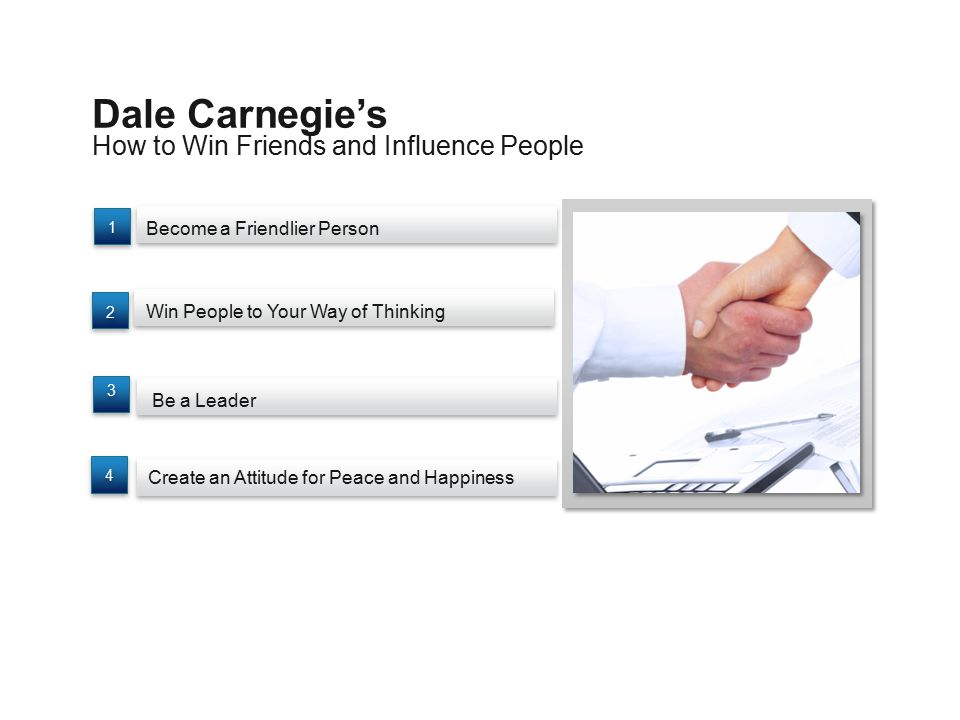 How to Win Friends and Influence People Dale Carnegie's Become a Friendlier Person Be a Leader Win People to Your Way of Thinking Create an Attitude f