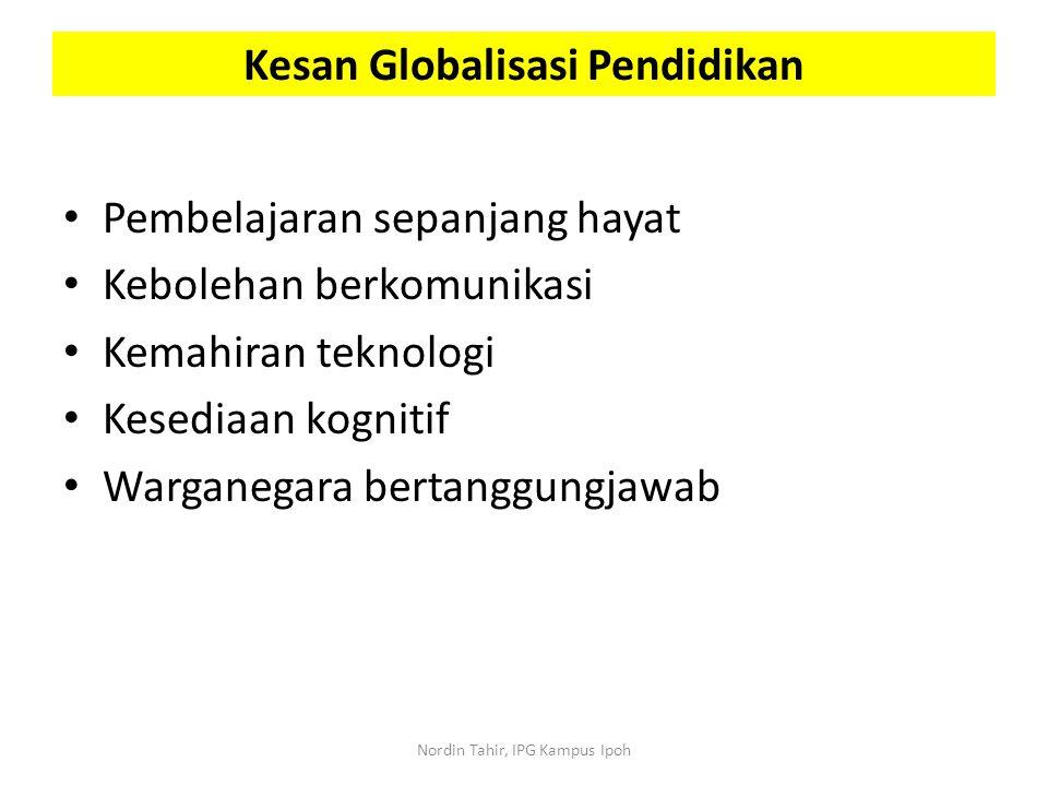 Pembelajaran sepanjang hayat Kebolehan berkomunikasi Kemahiran teknologi Kesediaan kognitif Warganegara bertanggungjawab Kesan Globalisasi Pendidikan
