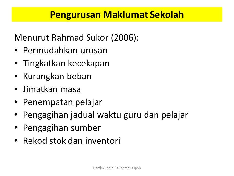 Menurut Rahmad Sukor (2006); Permudahkan urusan Tingkatkan kecekapan Kurangkan beban Jimatkan masa Penempatan pelajar Pengagihan jadual waktu guru dan