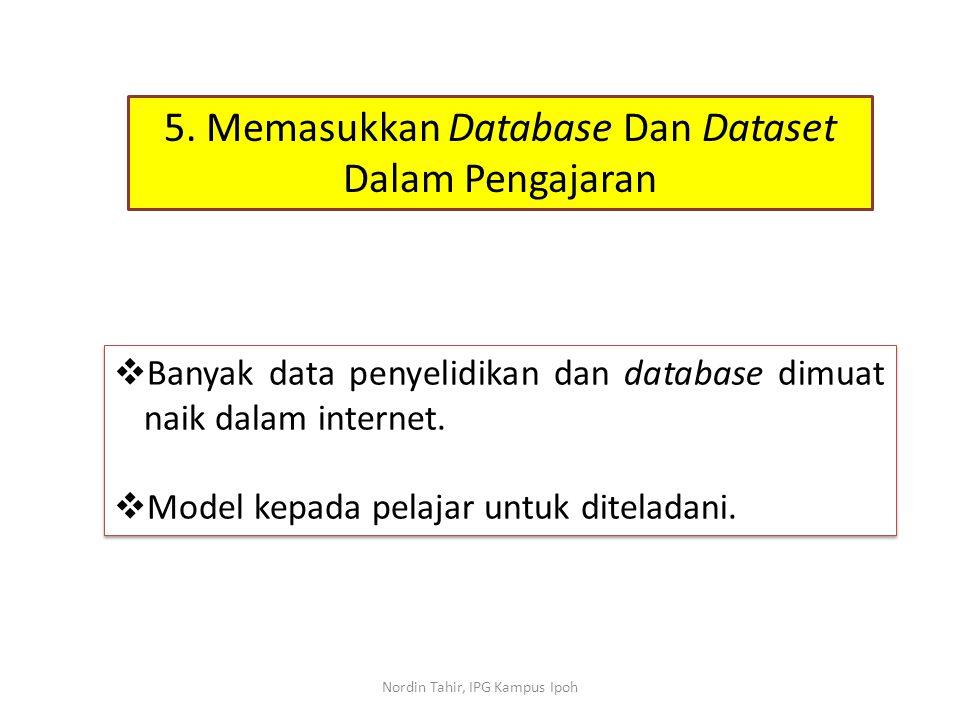  Banyak data penyelidikan dan database dimuat naik dalam internet.  Model kepada pelajar untuk diteladani.  Banyak data penyelidikan dan database d