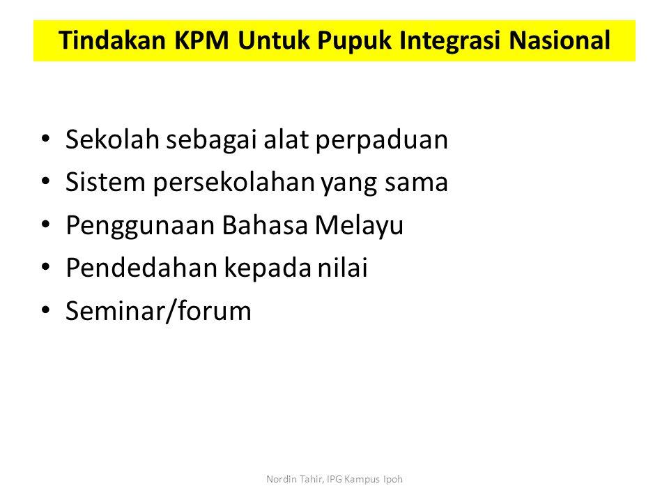 Sekolah sebagai alat perpaduan Sistem persekolahan yang sama Penggunaan Bahasa Melayu Pendedahan kepada nilai Seminar/forum Tindakan KPM Untuk Pupuk I