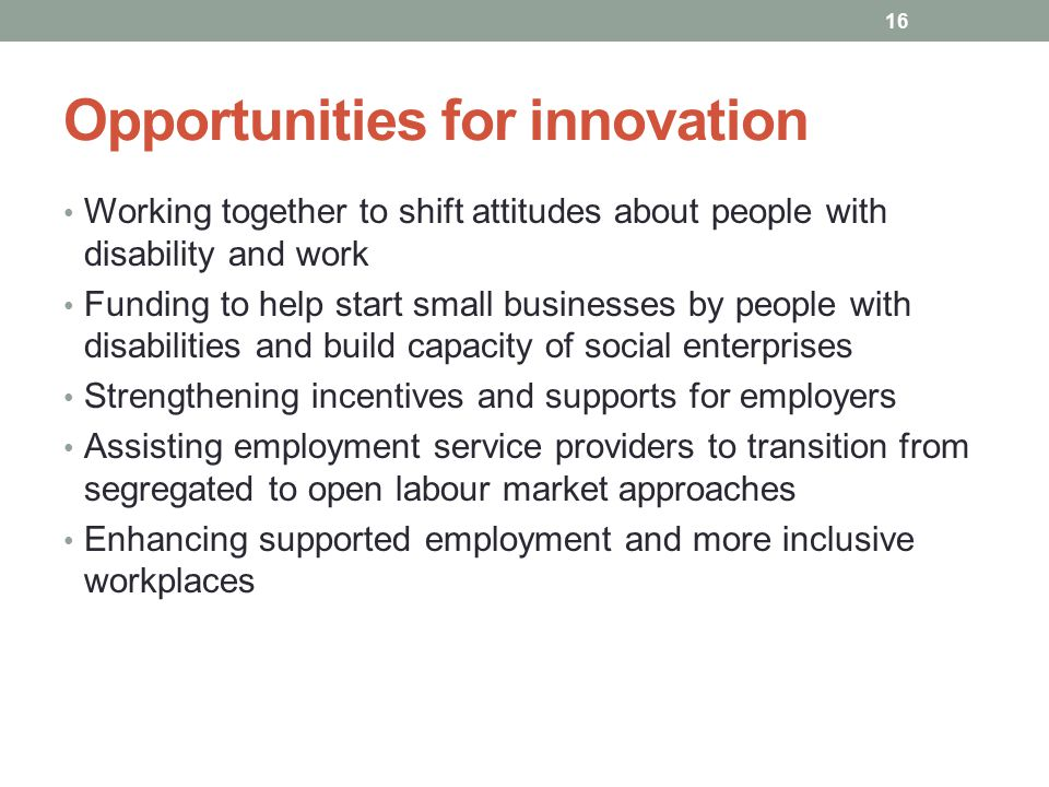 Opportunities for innovation Working together to shift attitudes about people with disability and work Funding to help start small businesses by people with disabilities and build capacity of social enterprises Strengthening incentives and supports for employers Assisting employment service providers to transition from segregated to open labour market approaches Enhancing supported employment and more inclusive workplaces 16