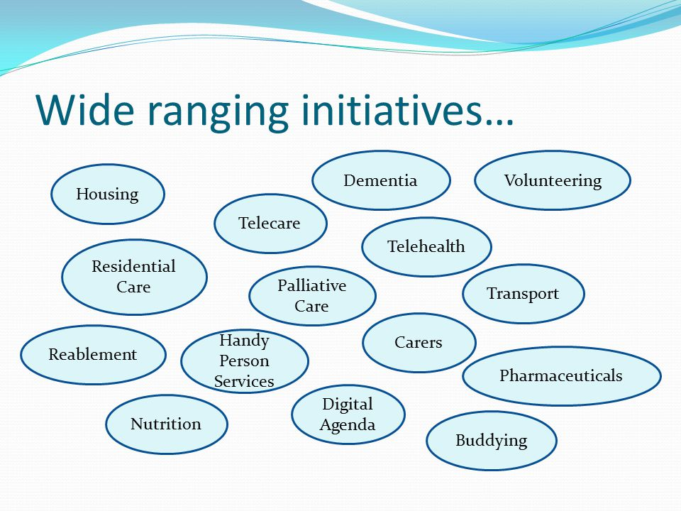 Wide ranging initiatives… Housing Residential Care Carers Nutrition Palliative Care Reablement Telecare Telehealth Dementia Digital Agenda Transport Buddying Handy Person Services Pharmaceuticals Volunteering