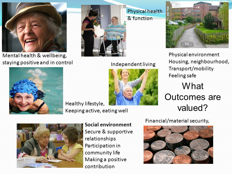 Mental health & wellbeing, staying positive and in control Healthy lifestyle, Keeping active, eating well Financial/material security, Social environment Secure & supportive relationships Participation in community life Making a positive contribution Physical environment Housing, neighbourhood, Transport/mobility Feeling safe Physical health & function What Outcomes are valued.