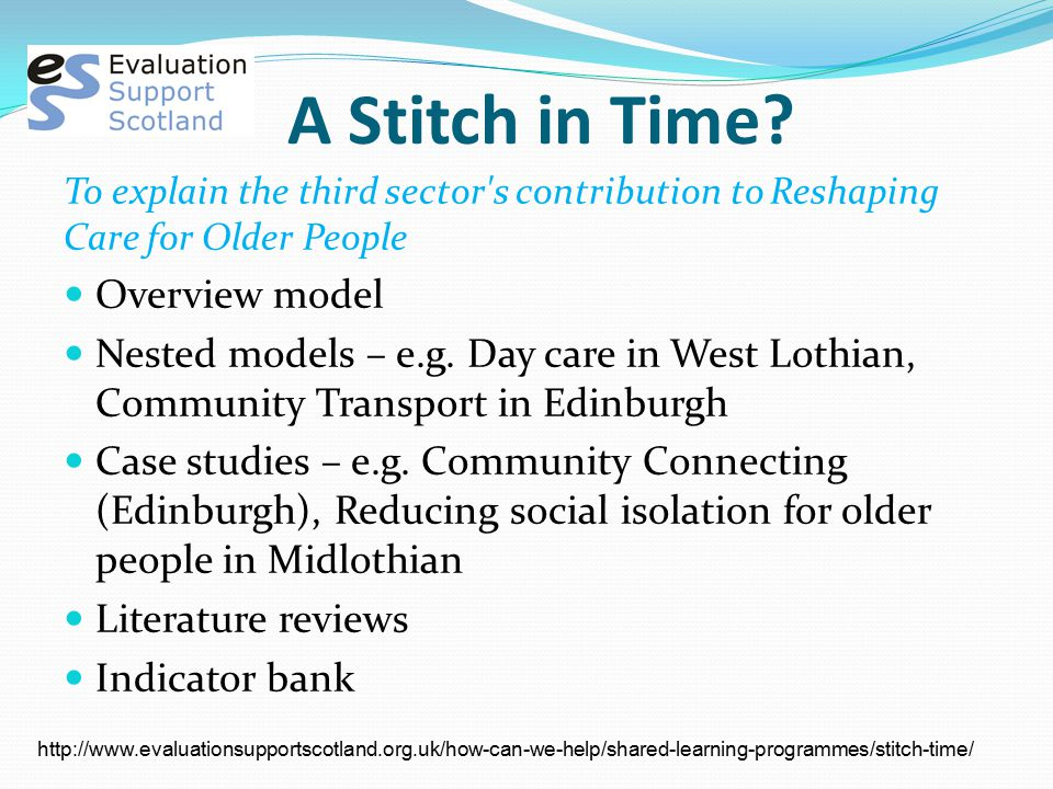A Stitch in Time? To explain the third sector's contribution to Reshaping Care for Older People Overview model Nested models – e.g. Day care in West L