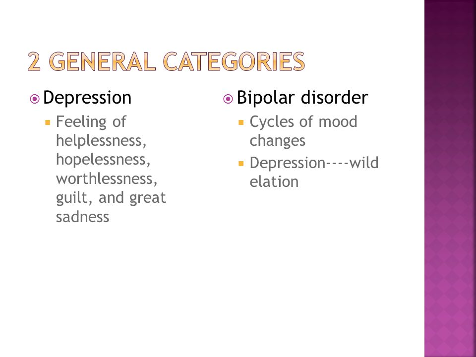 7 types of mood disorders divided into Depressive and bipolar disorders