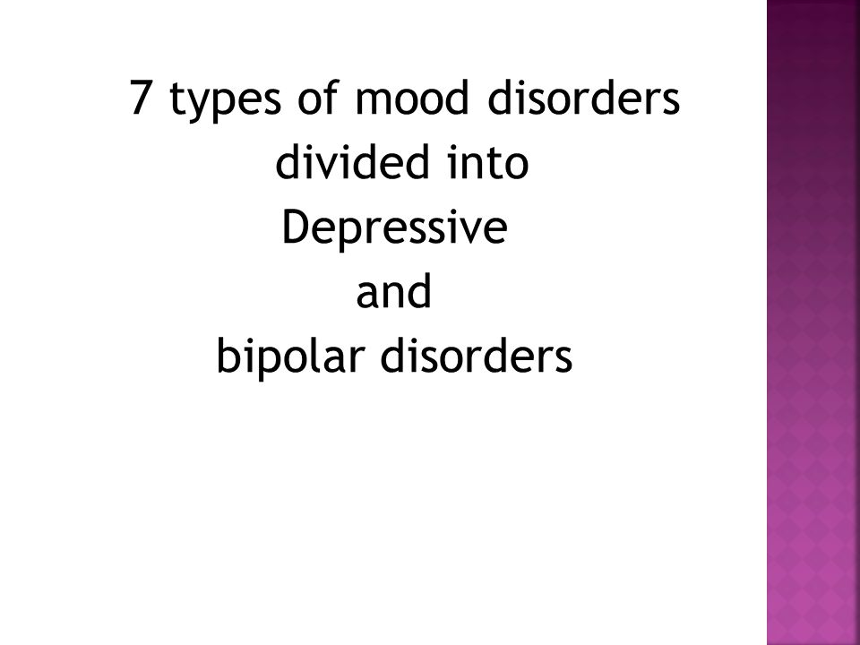  Must experience at least 5 of the following 9 symptoms for 2 wks/every day  Depressed mood for most of the day  Loss of interest pleasure in all things  Weight loss/ gain  Sleep more / less  Change in physical and emotional reactions  Fatigue/ loss of energy  Feeling worthless/ guilty  Inability to concentrate/ make decisions  Recurrent thoughts of death or suicide