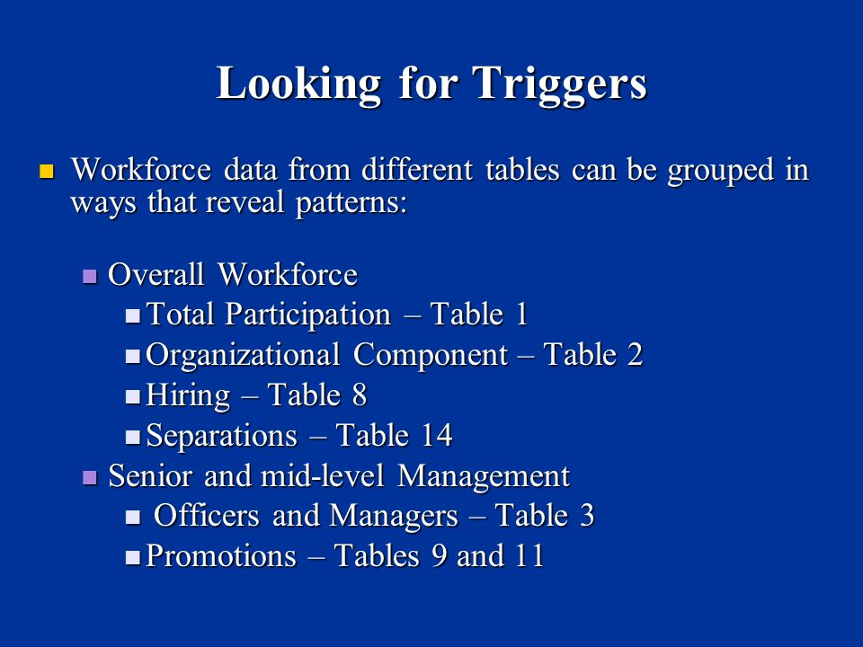 Looking for Triggers Workforce data from different tables can be grouped in ways that reveal patterns: Workforce data from different tables can be grouped in ways that reveal patterns: Overall Workforce Overall Workforce Total Participation – Table 1 Total Participation – Table 1 Organizational Component – Table 2 Organizational Component – Table 2 Hiring – Table 8 Hiring – Table 8 Separations – Table 14 Separations – Table 14 Senior and mid-level Management Senior and mid-level Management Officers and Managers – Table 3 Officers and Managers – Table 3 Promotions – Tables 9 and 11 Promotions – Tables 9 and 11