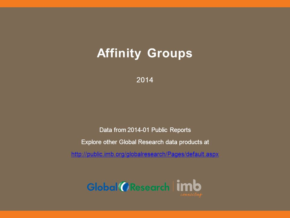 Affinity Groups 2014 Data from 2014-01 Public Reports Explore other Global Research data products at http://public.imb.org/globalresearch/Pages/default.aspx