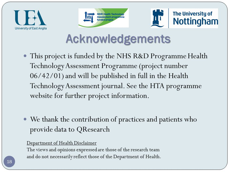 Acknowledgements This project is funded by the NHS R&D Programme Health Technology Assessment Programme (project number 06/42/01) and will be published in full in the Health Technology Assessment journal.