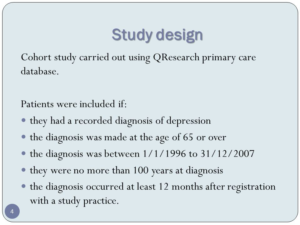 Study design Cohort study carried out using QResearch primary care database.