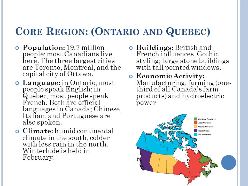 C ORE R EGION : (O NTARIO AND Q UEBEC ) Population: 19.7 million people; most Canadians live here.