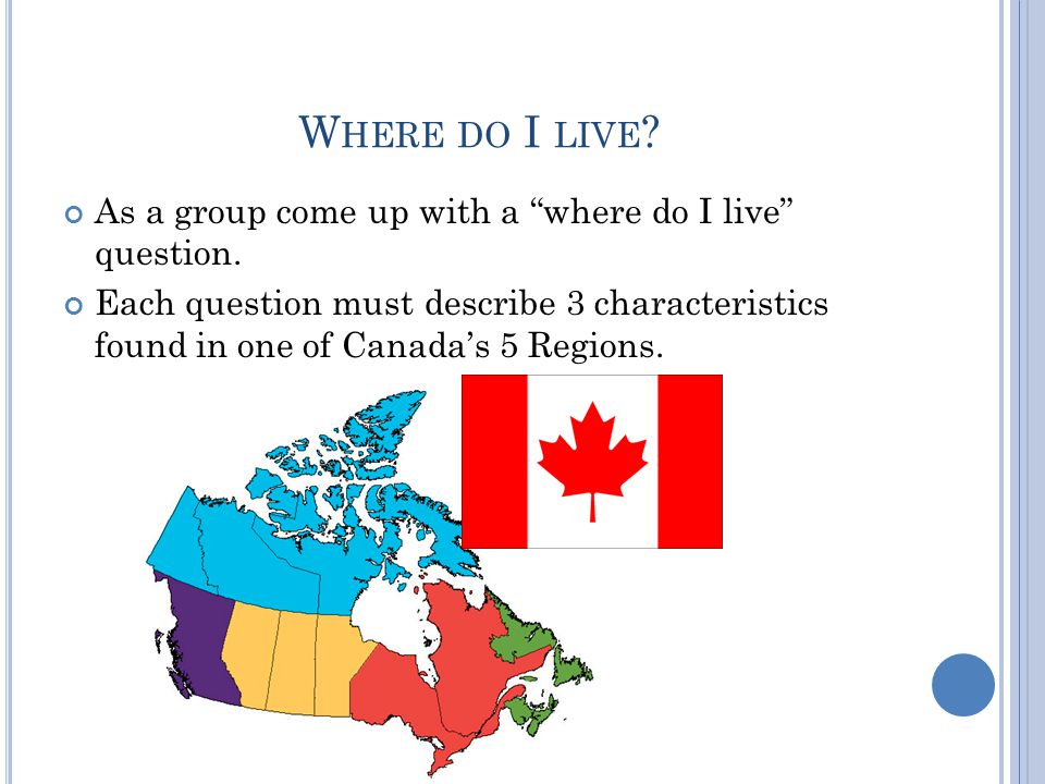 W HERE DO I LIVE . As a group come up with a where do I live question.