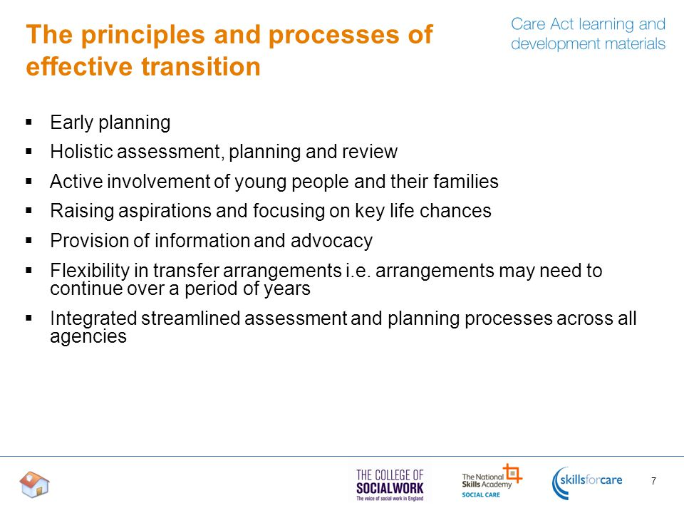 The principles and processes of effective transition  Early planning  Holistic assessment, planning and review  Active involvement of young people