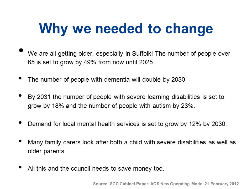 Why we needed to change We are all getting older, especially in Suffolk! The number of people over 65 is set to grow by 49% from now until 2025 The nu