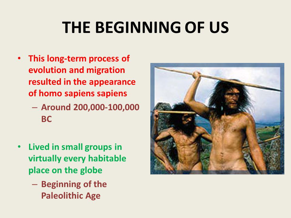 THE BEGINNING OF US This long-term process of evolution and migration resulted in the appearance of homo sapiens sapiens – Around 200,000-100,000 BC Lived in small groups in virtually every habitable place on the globe – Beginning of the Paleolithic Age