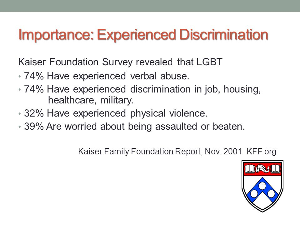 Importance: Experienced Discrimination Kaiser Foundation Survey revealed that LGBT 74% Have experienced verbal abuse.