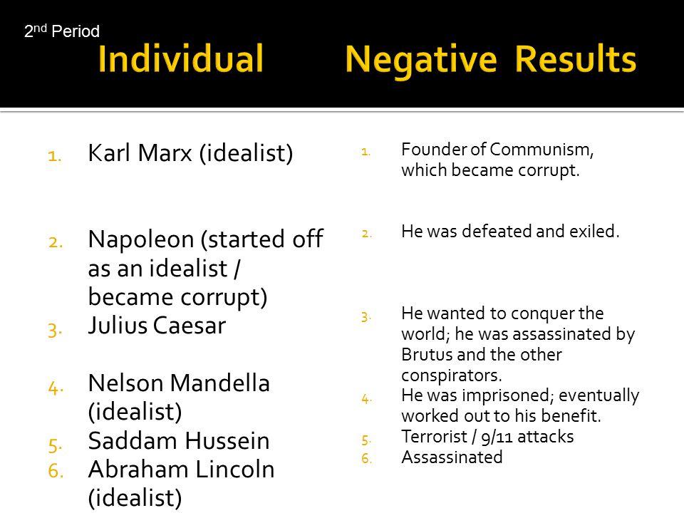 Individual Negative Results 1.Malcolm X 2. McCarthy 3.