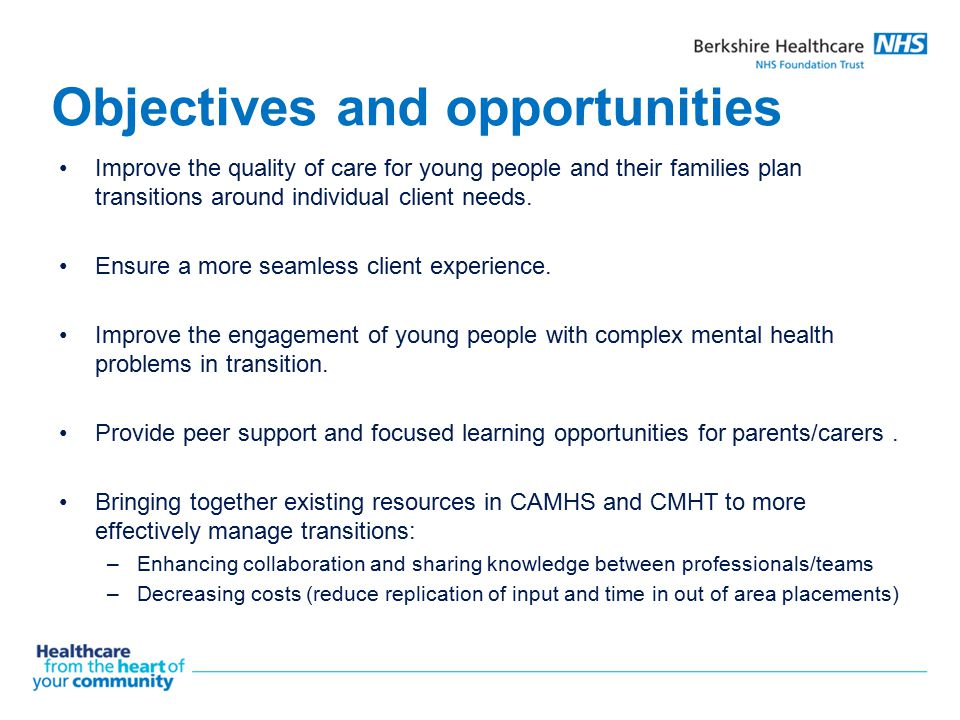 Objectives and opportunities Improve the quality of care for young people and their families plan transitions around individual client needs. Ensure a
