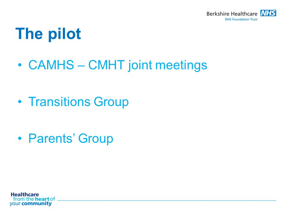 The pilot CAMHS – CMHT joint meetings Transitions Group Parents' Group