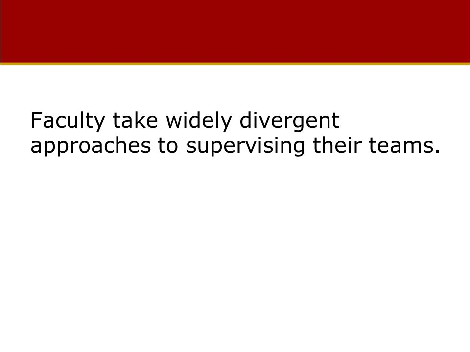 Faculty take widely divergent approaches to supervising their teams.