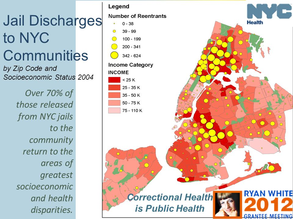 Jail Discharges to NYC Communities by Zip Code and Socioeconomic Status 2004 Over 70% of those released from NYC jails to the community return to the areas of greatest socioeconomic and health disparities.