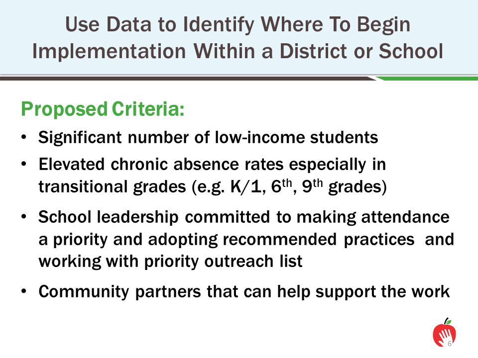Proposed Criteria: Significant number of low-income students Elevated chronic absence rates especially in transitional grades (e.g. K/1, 6 th, 9 th gr