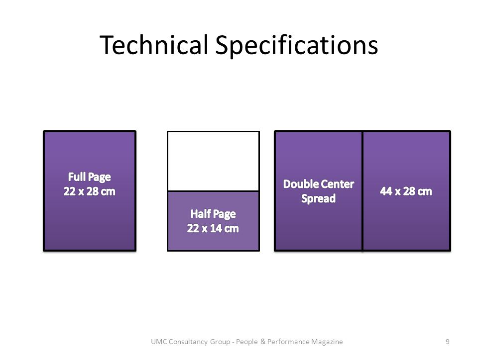 Technical Specifications 9UMC Consultancy Group - People & Performance Magazine