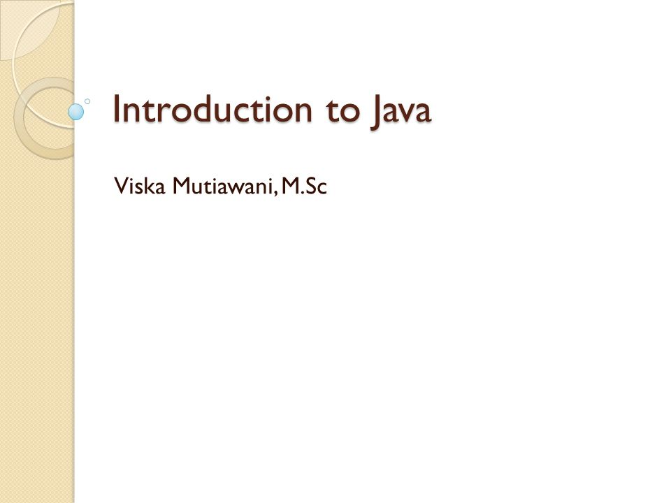 Getting Started: (1) (1) Create the source file: ◦ open a text editor, type in the code which defines a class (HelloWorldApp) and then save it in a file (HelloWorldApp.java) ◦ file and class name are case sensitive and must be matched exactly (except the.java part) Example Code: HelloWorldApp.java /** * The HelloWorldApp class implements an application * that displays Hello World! to the standard output */ public class HelloWorldApp { public static void main(String[] args) { // Display Hello World! System.out.println( Hello World! ); }  Java is CASE SENSITIVE!