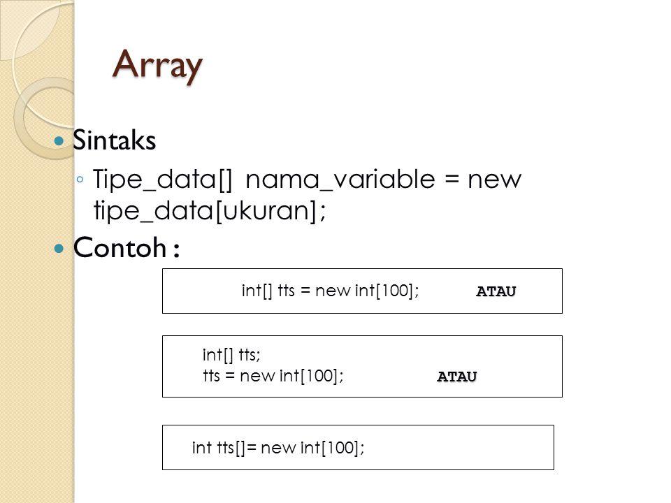 Array Sintaks ◦ Tipe_data[] nama_variable = new tipe_data[ukuran]; Contoh : ATAU int[] tts = new int[100]; ATAU int[] tts; ATAU tts = new int[100]; AT