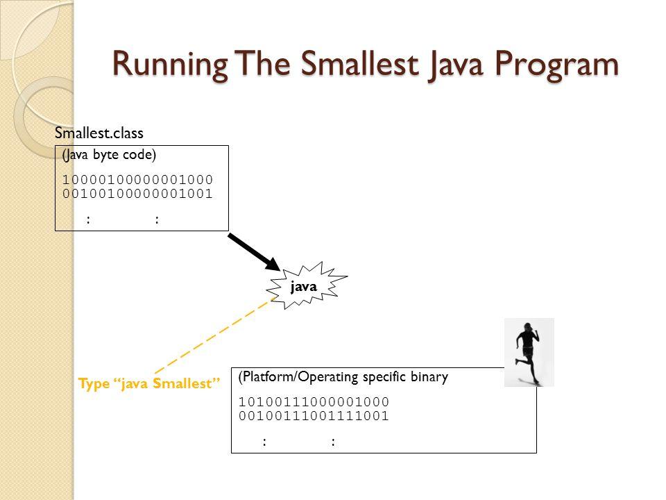"Running The Smallest Java Program (Java byte code) 10000100000001000 00100100000001001 : : Smallest.class java Type ""java Smallest"" (Platform/Operatin"