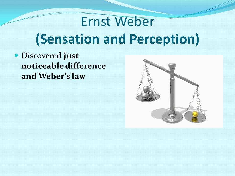 Ernst Weber (Sensation and Perception) Discovered just noticeable difference and Weber's law