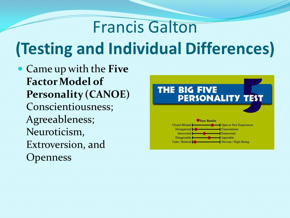 Francis Galton (Testing and Individual Differences) Came up with the Five Factor Model of Personality (CANOE) Conscientiousness; Agreeableness; Neuroticism, Extroversion, and Openness