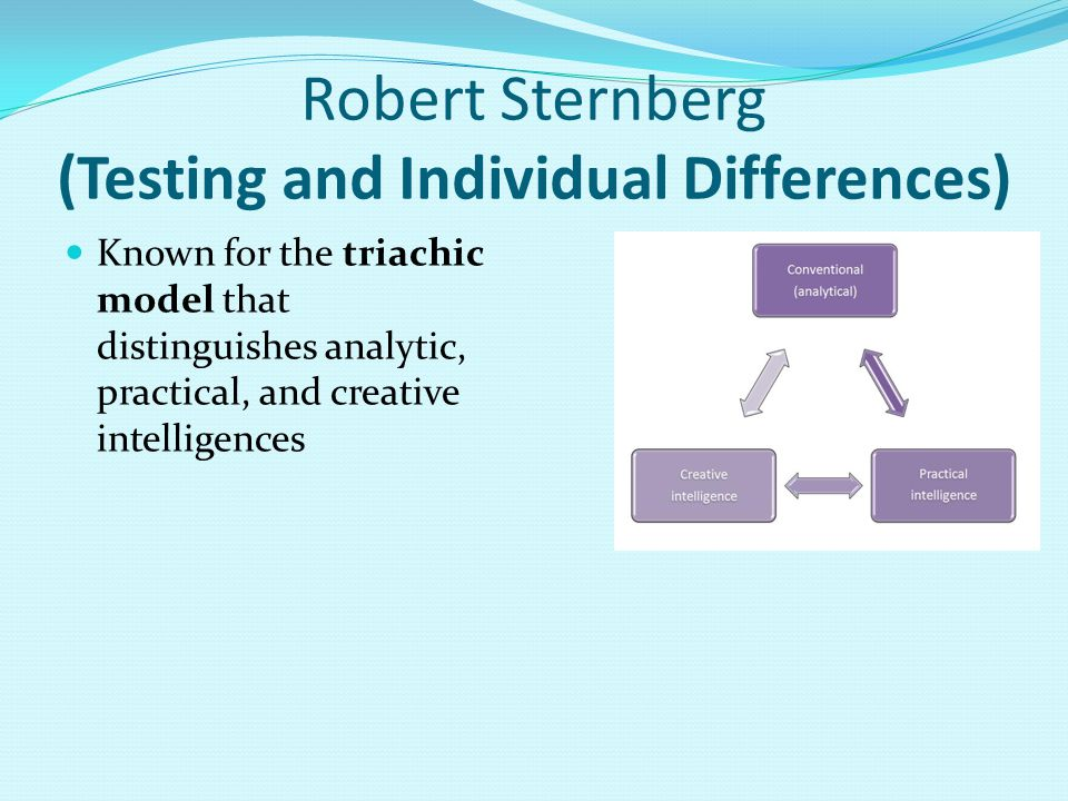 Robert Sternberg (Testing and Individual Differences) Known for the triachic model that distinguishes analytic, practical, and creative intelligences
