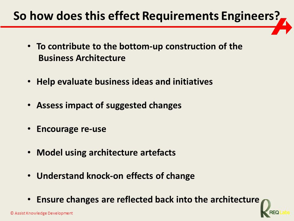 © Assist Knowledge Development So how does this effect Requirements Engineers? To contribute to the bottom-up construction of the Business Architectur