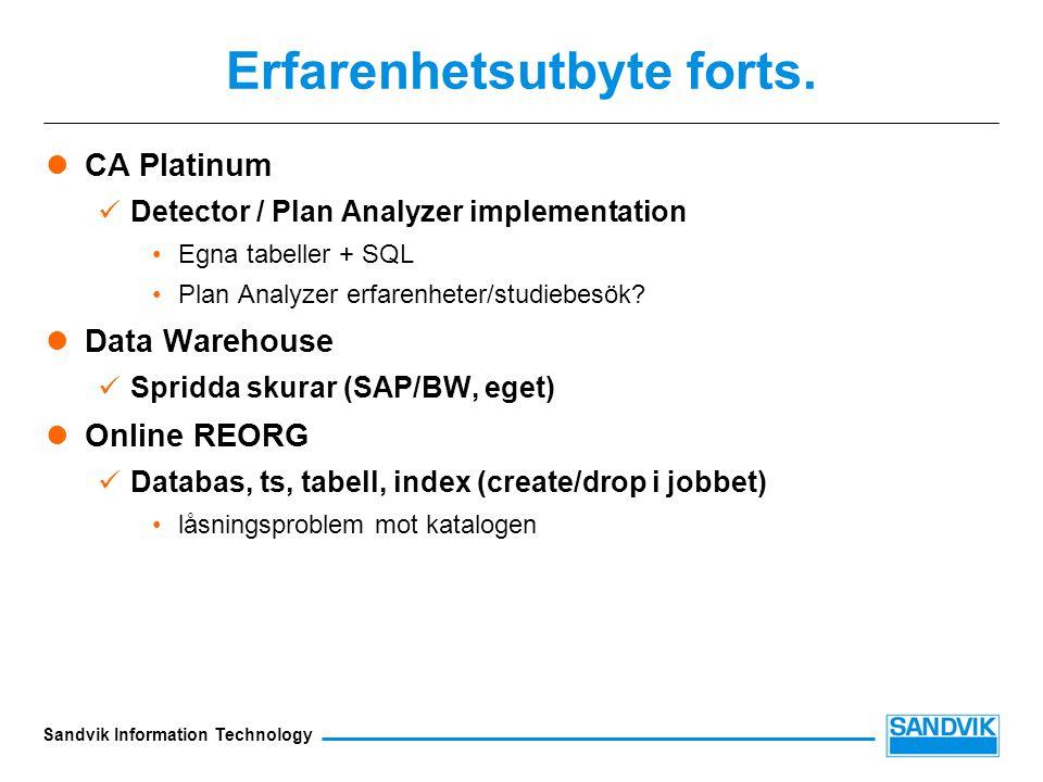 Sandvik Information Technology Erfarenhetsutbyte forts.