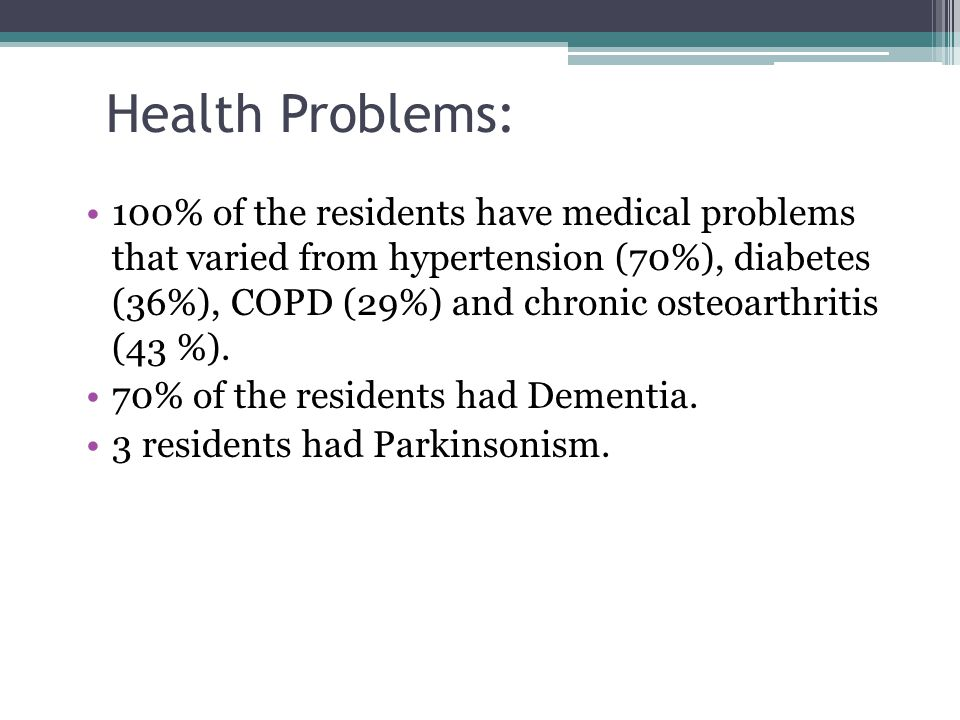 Health Problems: 100% of the residents have medical problems that varied from hypertension (70%), diabetes (36%), COPD (29%) and chronic osteoarthriti