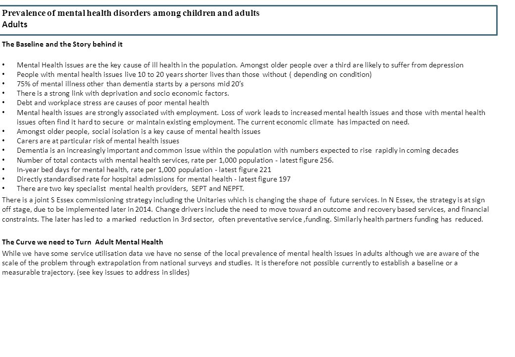 Prevalence of mental health disorders among children and adults Adults The Baseline and the Story behind it Mental Health issues are the key cause of ill health in the population.