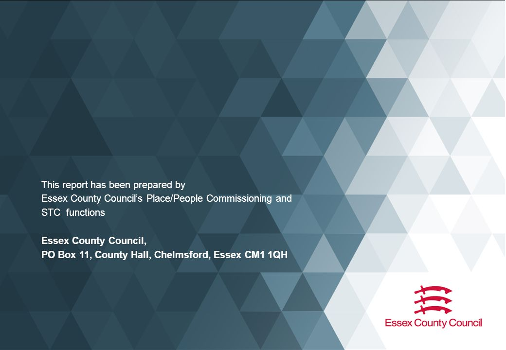 This report has been prepared by Essex County Council's Place/People Commissioning and STC functions Essex County Council, PO Box 11, County Hall, Chelmsford, Essex CM1 1QH