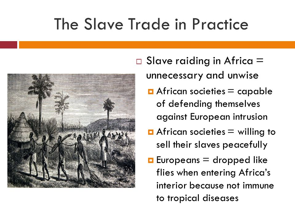 The Slave Trade in Practice  Slave raiding in Africa = unnecessary and unwise  African societies = capable of defending themselves against European