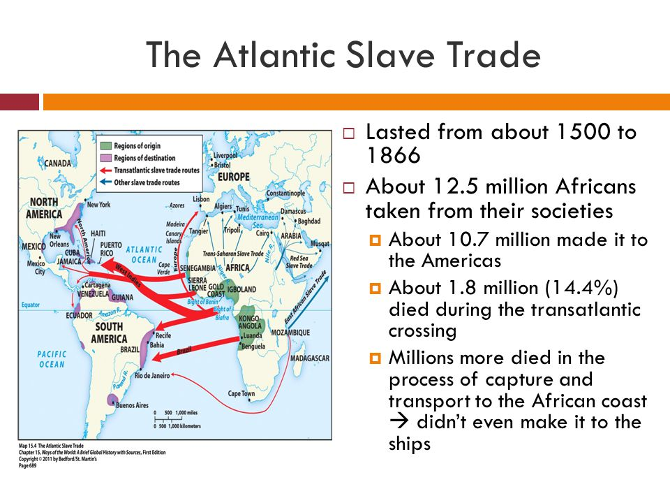 Origins of Atlantic Slavery  To the Europeans, Africans were perfect for plantation labor because:  Skilled farmers  Some immunity to tropical and European diseases  Not Christian  Relatively close and easy to get  Available in large numbers  Had darker skin  allowed the Europeans to view them as an inferior race Testing an African Slave for Sickness