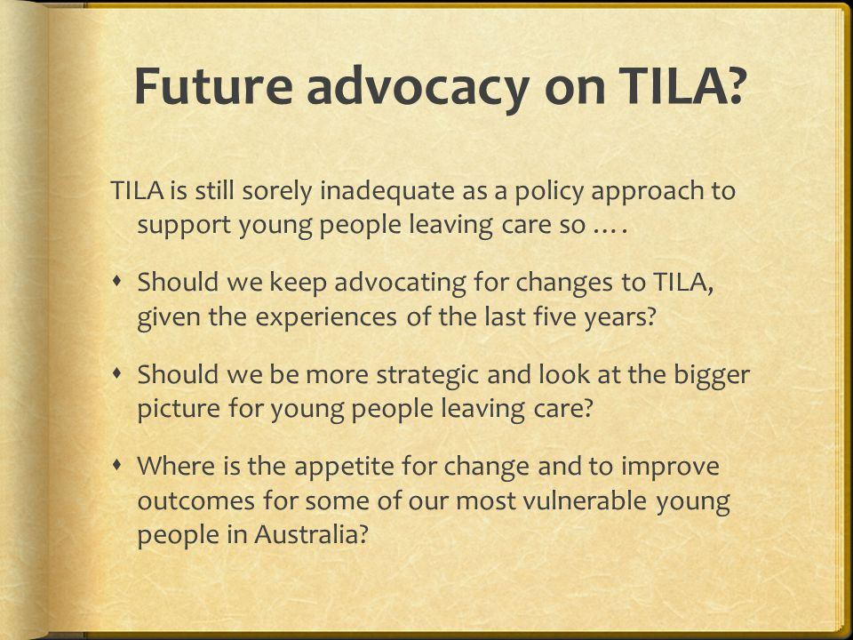 Future advocacy on TILA.